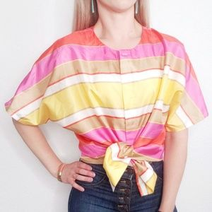 80-90s Vintage Striped Bold Button Down Blouse 506